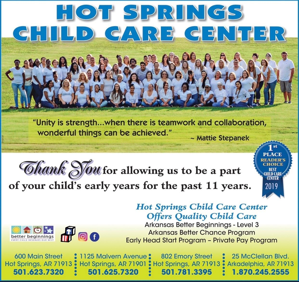 hot springs child care center